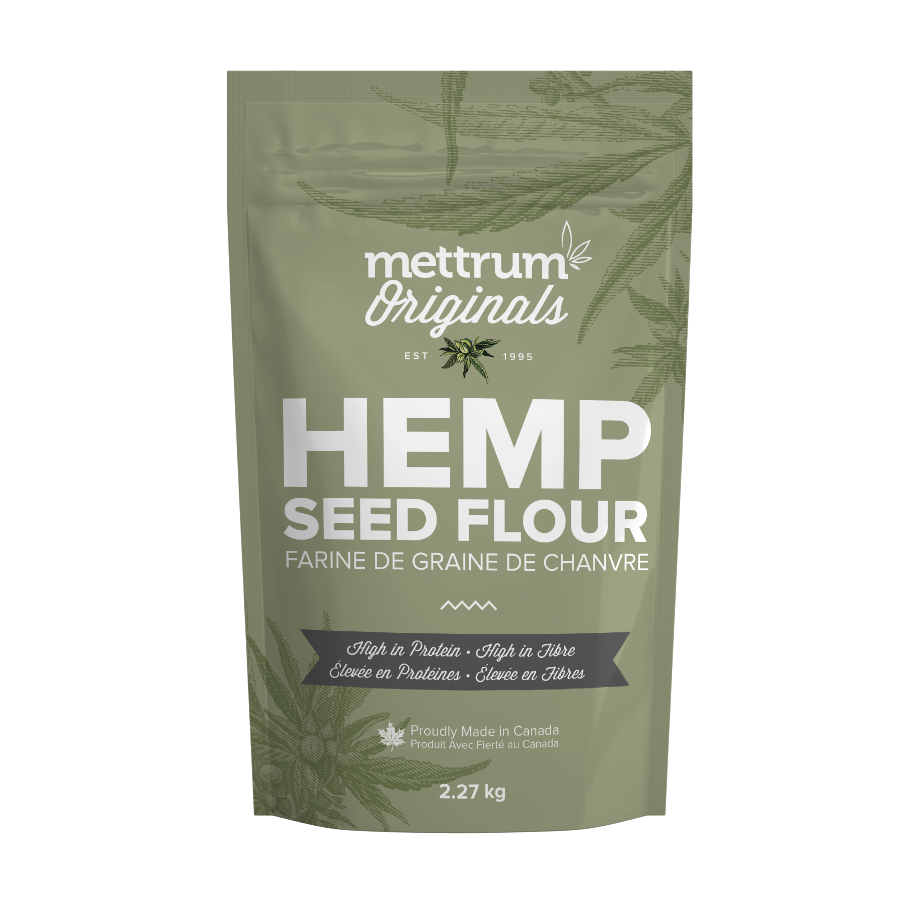 Hemp Seed Flour | Mettrum Originals Use Mettrum Originals™ Hemp Seed Flour in your next recipe by substituting anywhere from 5 to 25 percent of the total flour called for in the recipe to add a boost of healthy fibre and protein. Use in muffins, cookies, breads, pastry, pizza, pasta... the list is endless. Enjoy! Ingredients: hemp seed flour