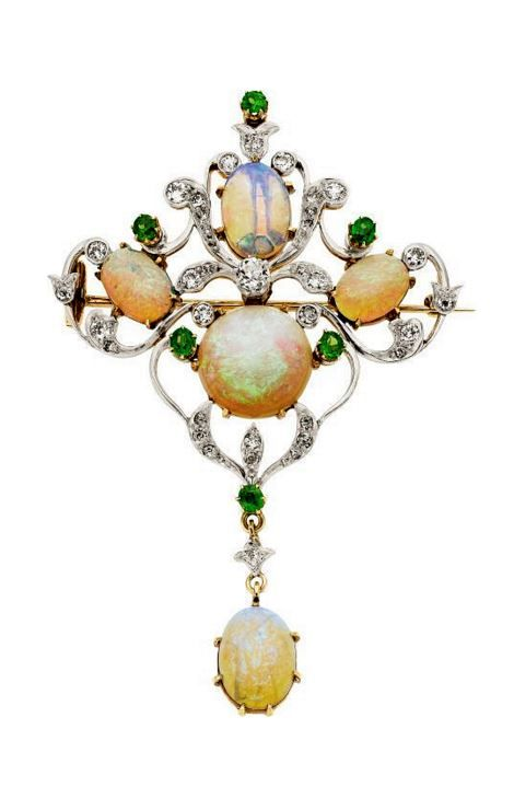 Art Nouveau Green Opalescent Cab and Pearl Necklace Free Shipping