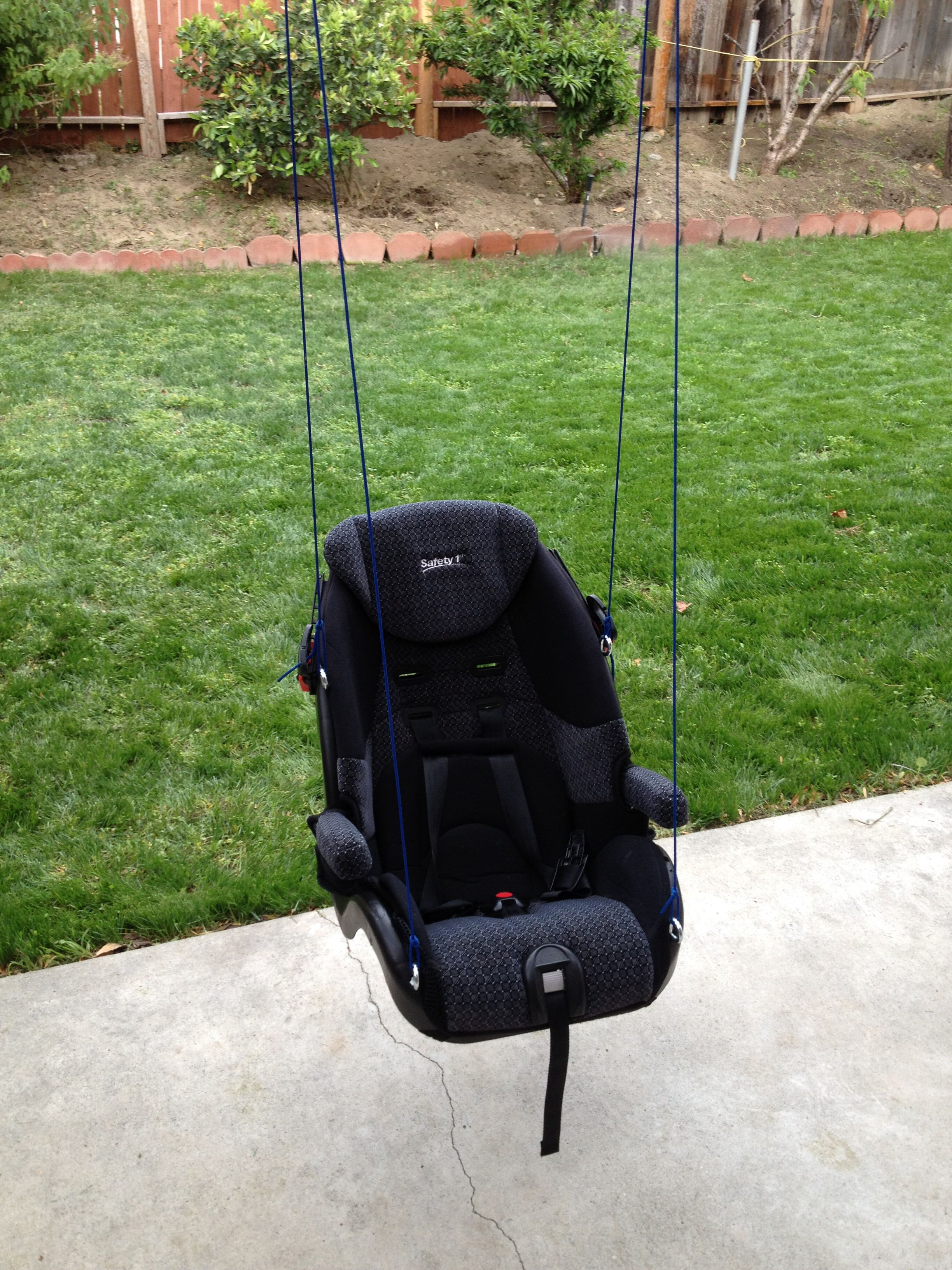 diy car seat upcycle diy baby swing outdoor awesome idea with 5 point harness [ 2448 x 3264 Pixel ]
