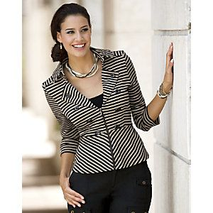 Seams and darts front to back plus a peplum hem sculpt a flattering hourglass.