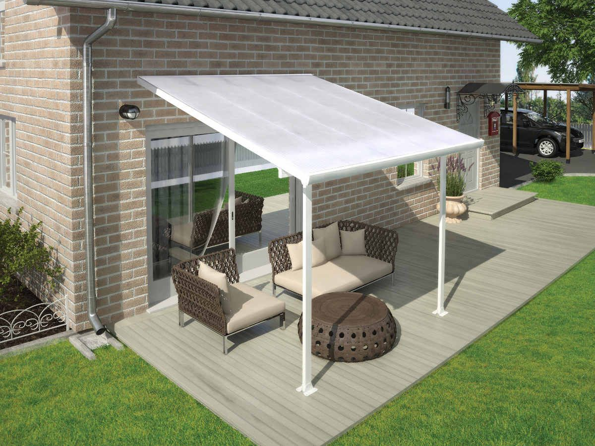 The Elegant Palram Feria 10x10 Patio Cover White Provides The Perfect Covering For Any Backyard Patio Or Outdoor Space Covered Patio Patio Roof Patio Awning