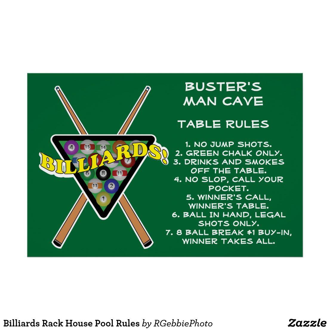 Billiards Rack House Pool Rules Poster Pool