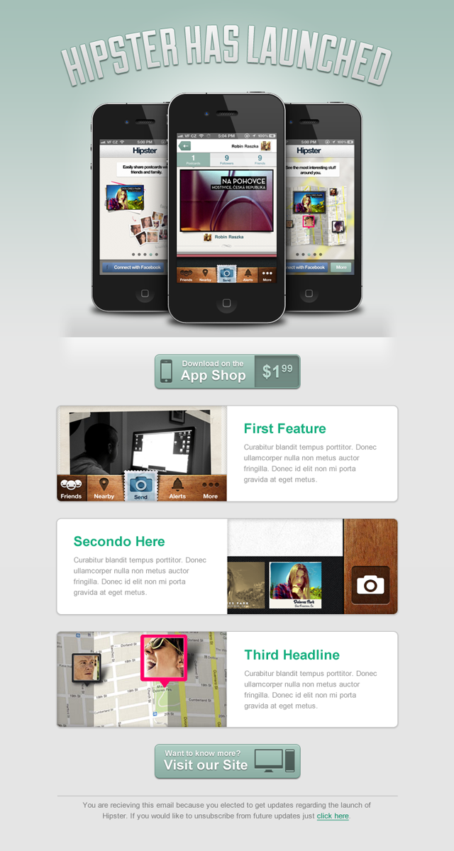 design a clean launch email for a mobile app webdesigntuts