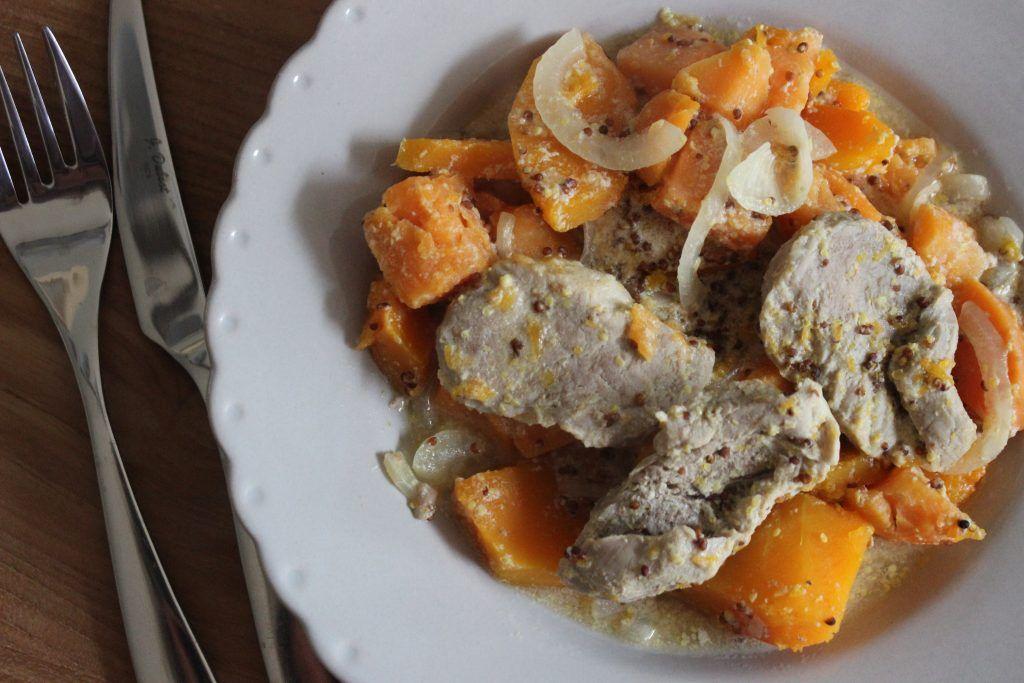 FILET MIGNON COURGE BUTTERNUT A LA MOUTARDE A L ANCIENNE cuisine