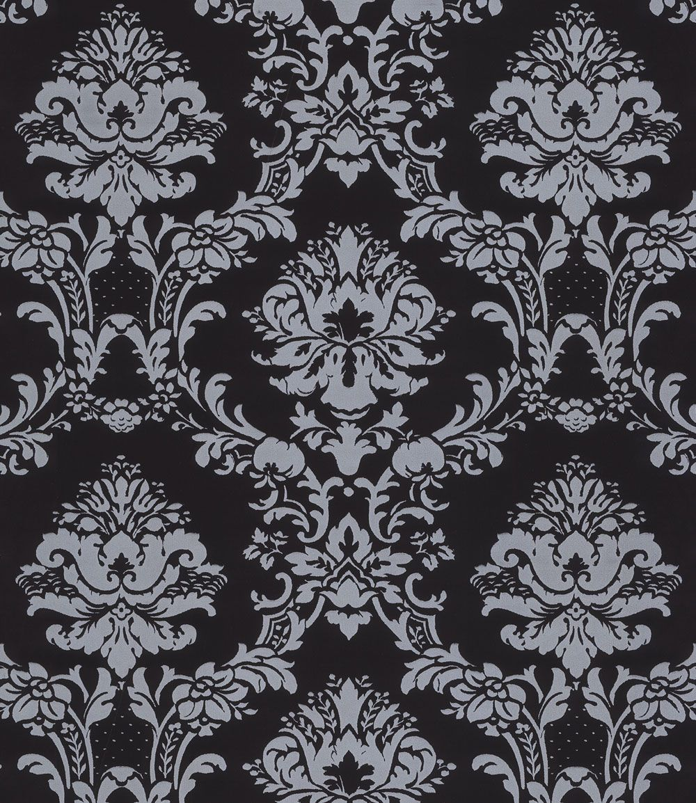 Silver on Black Victorian Stencil Damask Wallpaper