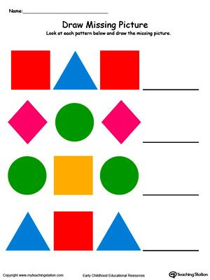 Draw And Color The Missing Shape To Complete The Pattern Pattern Worksheet Math Patterns Shapes Preschool