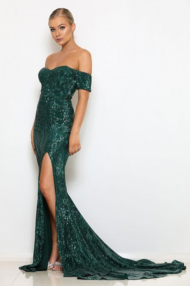abyss by abby boston green sequin sweetheart neckline mermaid train ...