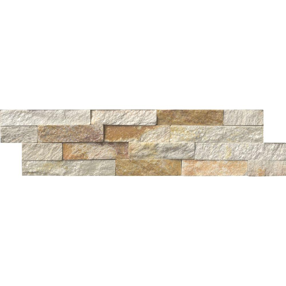 Msi Sparkling Autumn Ledger Panel 6 In X 24 In Textured Natural Quartzite Wall Tile 10 Cases 60 Sq Ft Pallet Lpnlqspaaut624 The Home Depot Stacked Stone Stone Tiles Wall Tiles