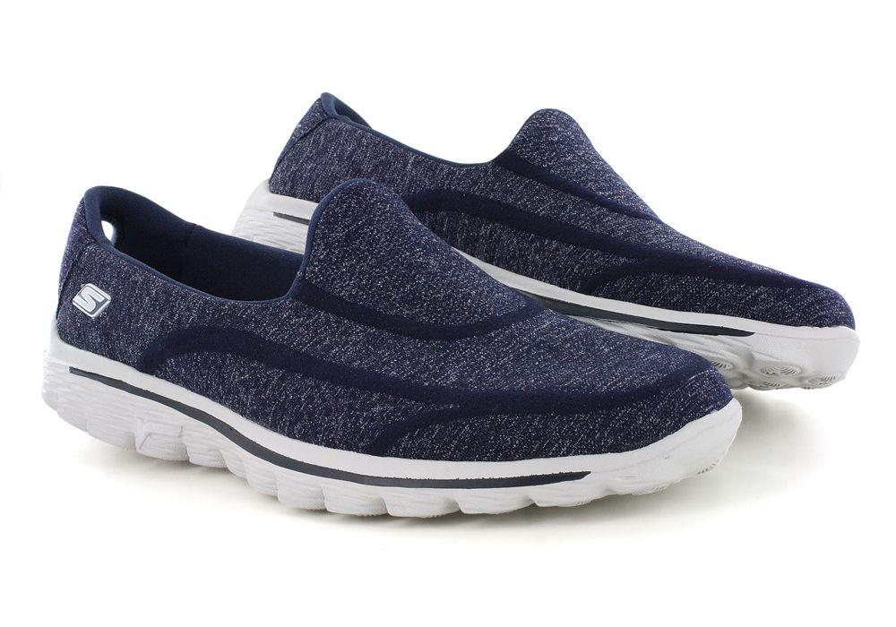 Womens Skechers Go Walk 2 Super Sock Slip On Navy Skechers Slip