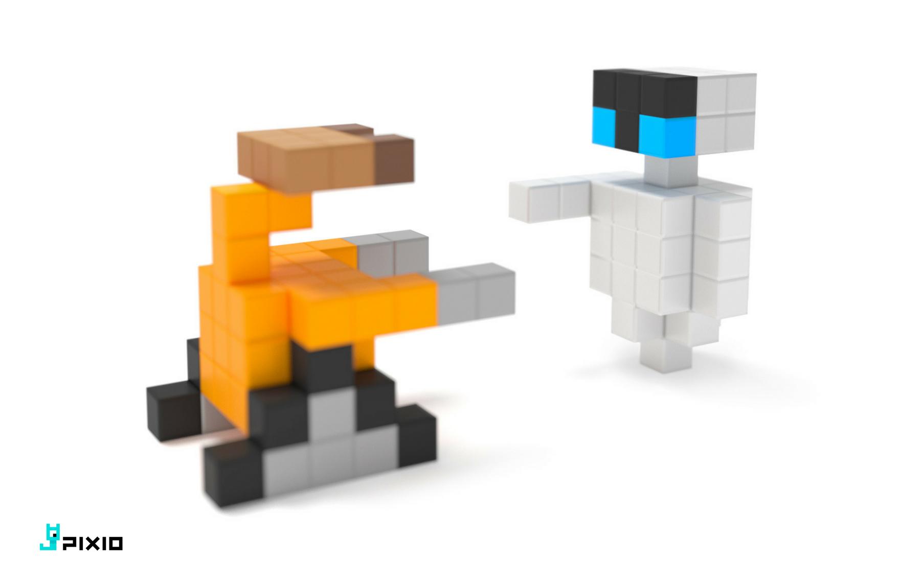 Magnetic Construction Set In The Pixel Art Style Pixel Art