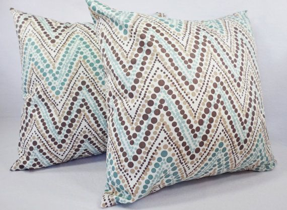 ab00e6a5990c Blue and Brown Pillow Cover - Decorative Throw Pillow Cover - Blue ...