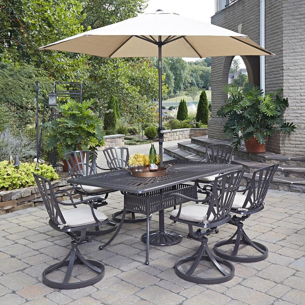 Home Styles Largo 7 Piece Patio Dining Set With Umbrella And
