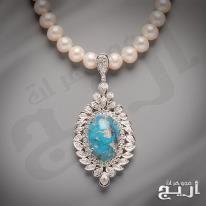 عقد الماس فاخر مع حجر الفيروز النيشابوري الطبيعي Necklace Pendant Pearls