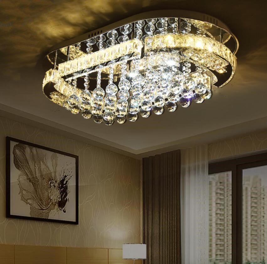 Oval Led K9 Crystal Ceiling Lamp Minimalist Bedroom Dining Room Pendant Light Crystal Ceiling Lamps Dining Room Pendant Pendant Lighting Dining Room