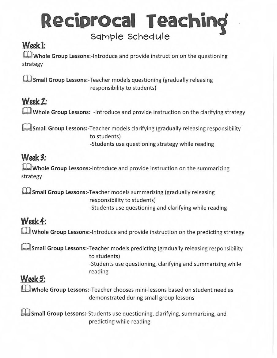 Worksheets Reciprocal Teaching Worksheet reciprocal teaching schedule to introduce concept students entire unit from hello literacy students