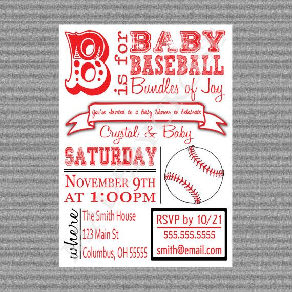 printable baby shower invitation, baseball baby shower, basketball, Baby shower