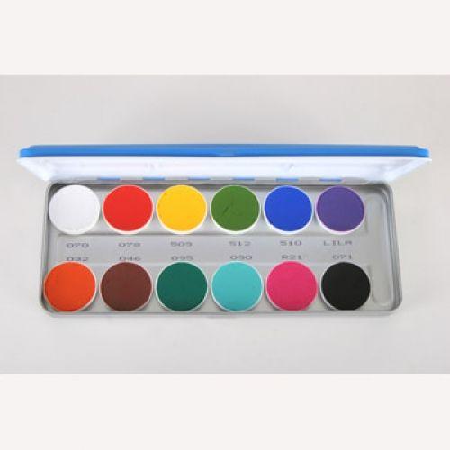 Kryolan Aquacolor Vivid Palettes 12 Colors Paint Palette Body Painting Palette