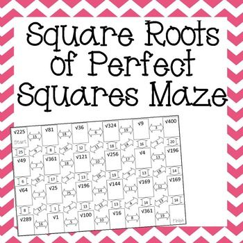 Square Roots of Perfect Squares Maze 8th Grade Math Worksheets