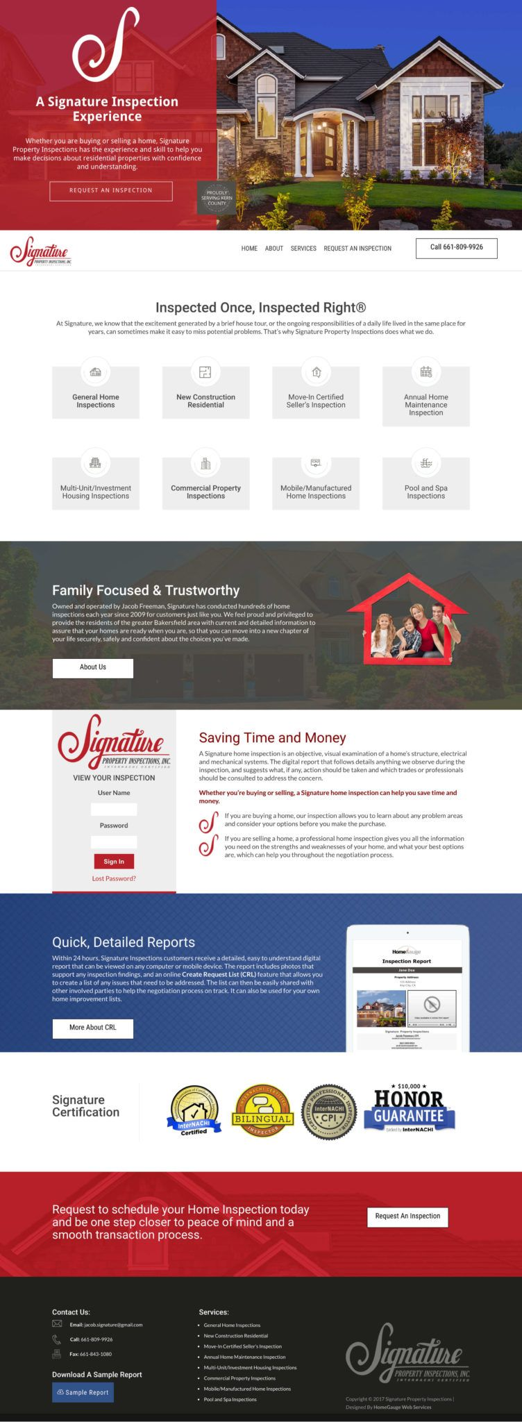 Signature Property Inspection Website Design Divi Wordpress Kern