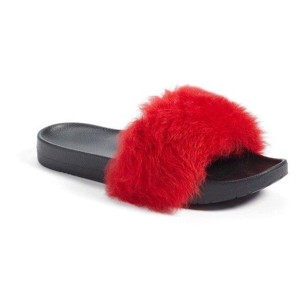 977ce75e655 Women's Ugg Royale Genuine Shearling Slide Sandal ($80) ❤ liked on ...
