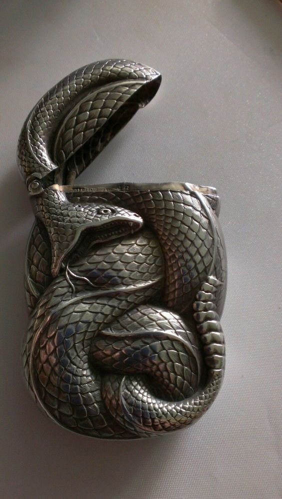 antique sterling silver figural snake box william b kerr a