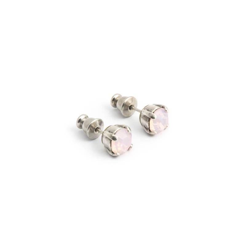 Moliere Paris Oorknopjes met roze frosted Swarovski kristallen 6 mm