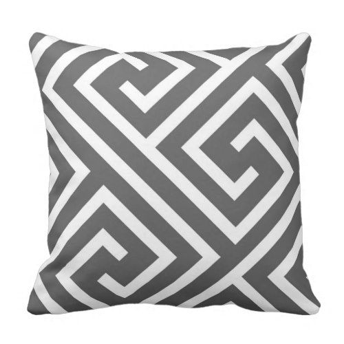 Modern Greek Key Pattern in Charcoal and White Pillow more great gift ideas at www.dramaticallycorrectdesigns.com