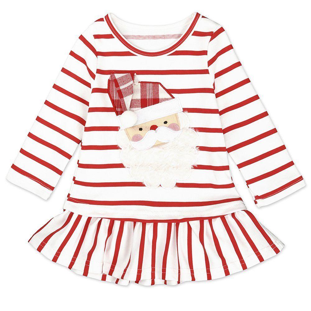 cfd518e5fc10 Toddler Kids Baby Girls Santa Claus Print Dress Long Sleeve Striped ...