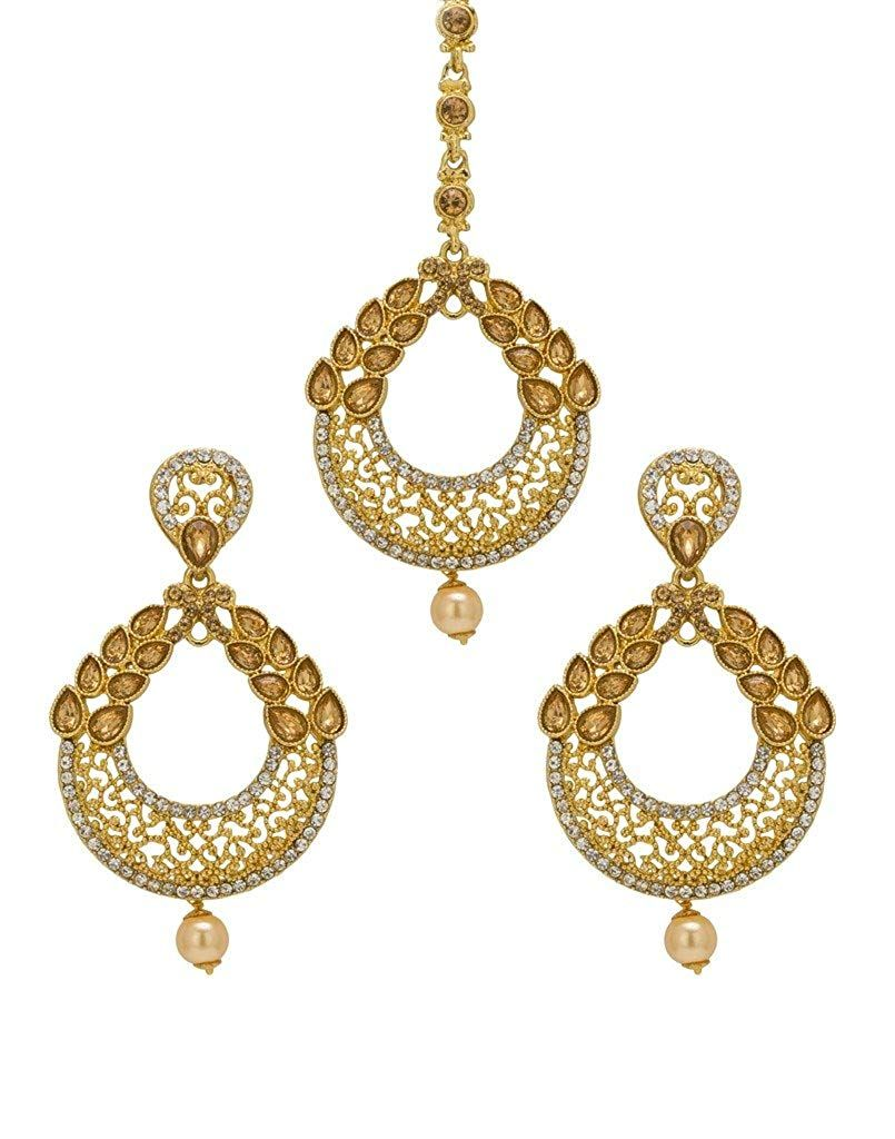 Bridal & Wedding Party Jewelry Engagement & Wedding Bindhani Indian Wedding Head Gold Plated Jewelry Maang Tikka Earrings For Women