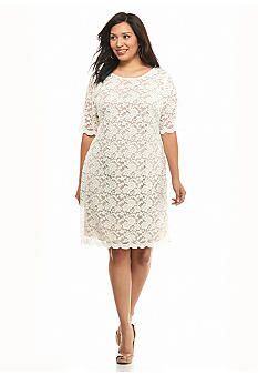 Connected Apparel Plus Size Allover Lace Shift Dress - Belk ...