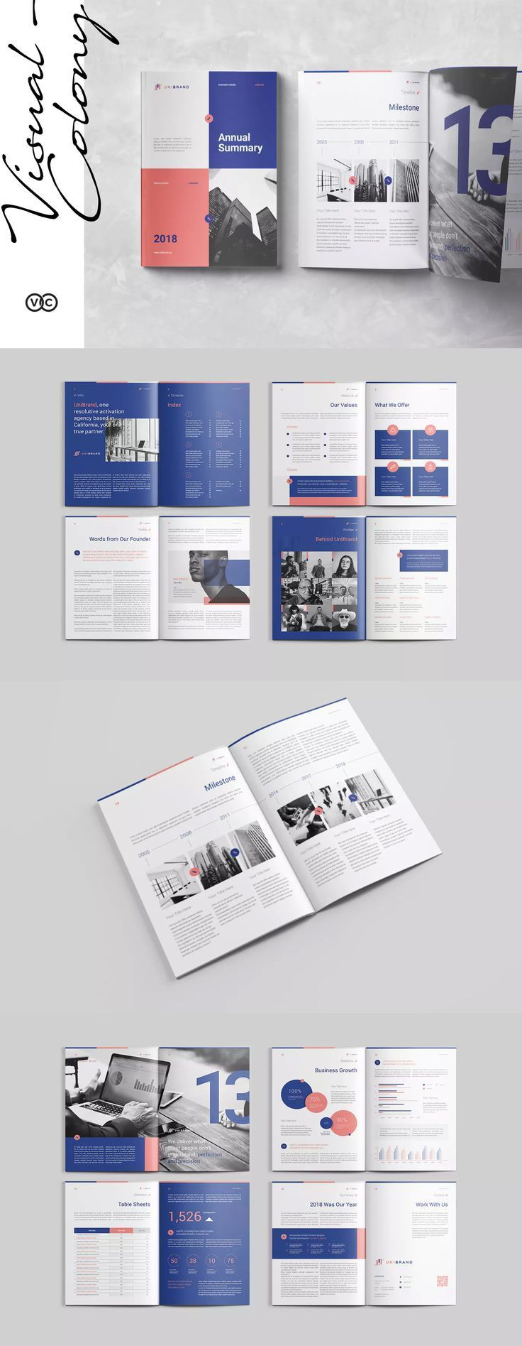 Annual Report Template InDesign INDD - US Letter Size and A4  #unlimiteddownloads #annualreports