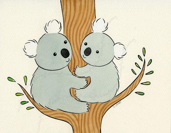 Tree Hugging Koalas By Ambleandsing Koala Illustration Koala Nursery Koalas