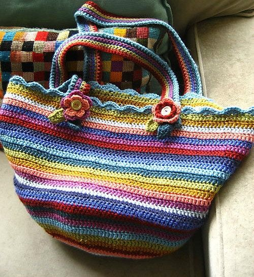 8 Stripe Shoulder Bag Perfect Knitting Shopping Bag by Warmth
