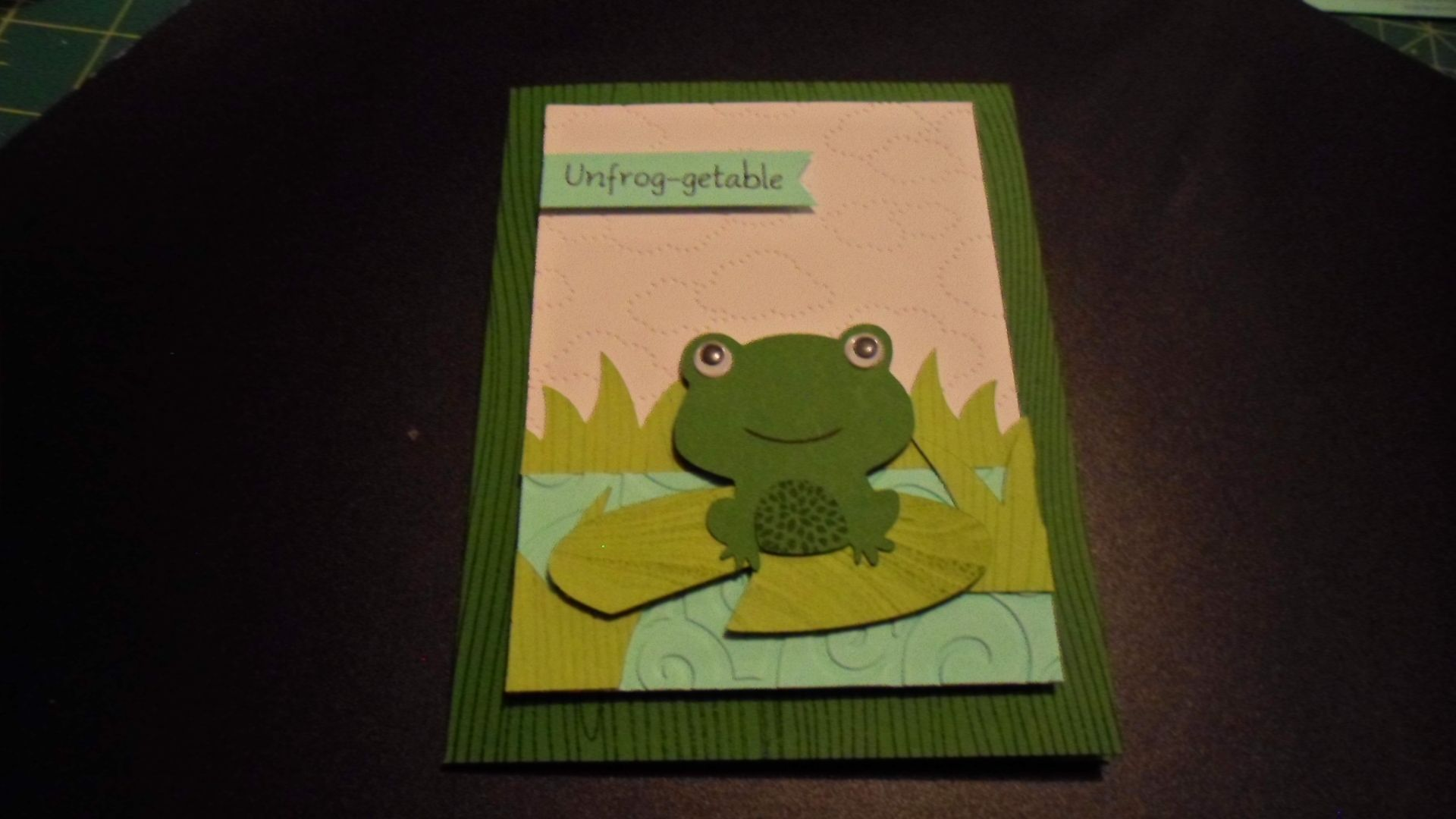 Unfrog-getable card, Cricut Expression, Create a Critter, Bazzill card stock, Stampin Up ink, Embossing folders, back ground stamps, google eyes