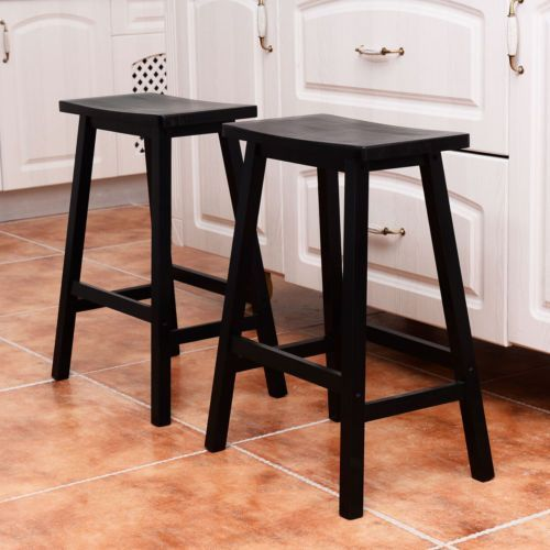 bar stools kitchen dining room saddle seat wooden pub chair black