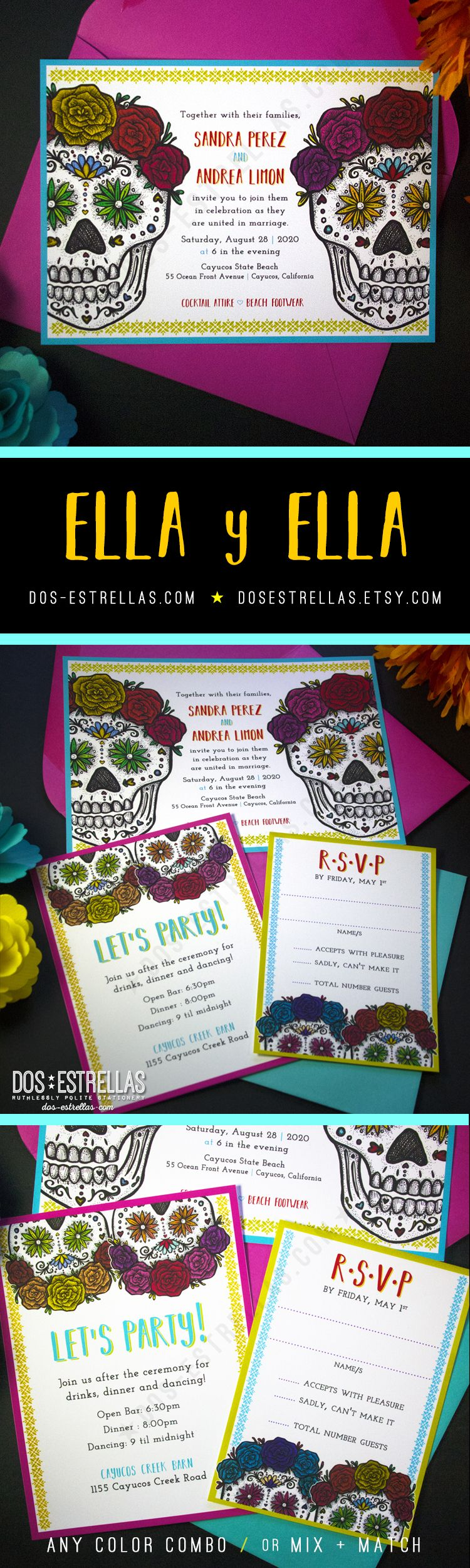 Ella Y Ella Gay Lesbian Wedding Invitations Sugar Skulls