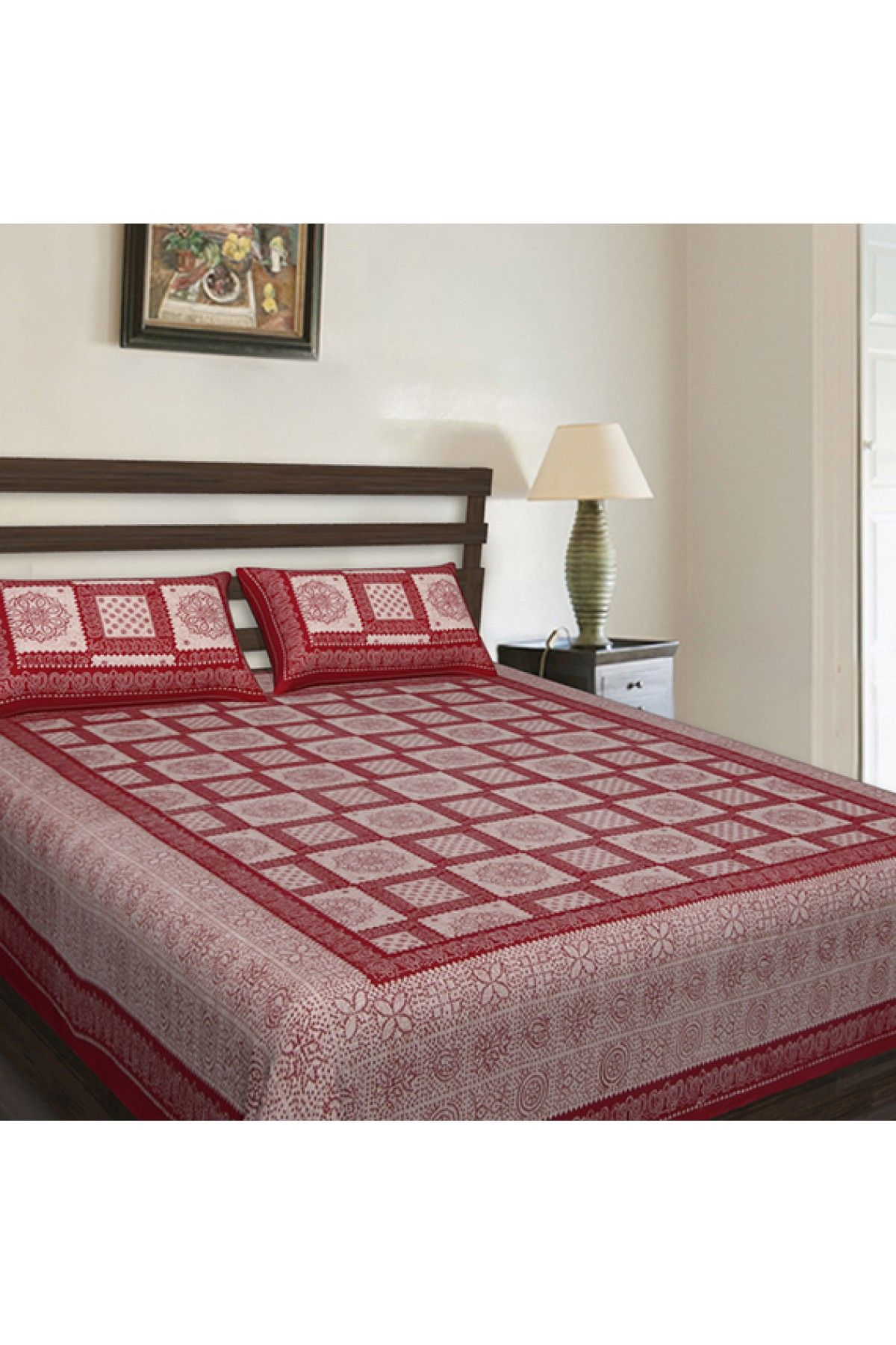 Double Bed Cotton Printed Bedsheet in Maroon Colour.This admiring ...
