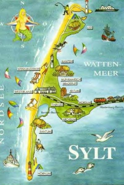 Sylt Island, Germany #Map / Isola Di Sylt, In Germania #Mappa