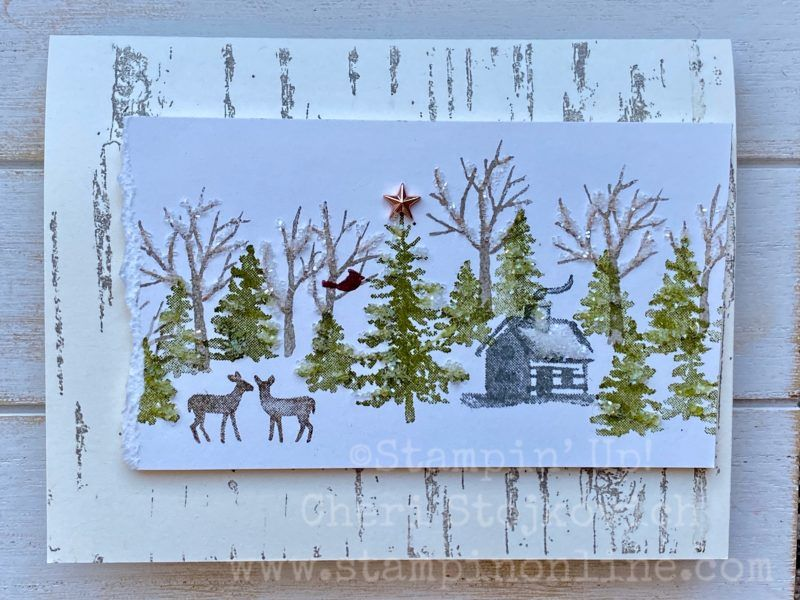 How to Copy a Card: Birch Background with Snow Front and Ice Glitter #onlineclasses