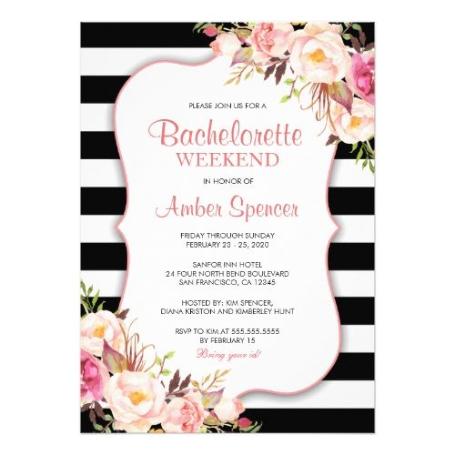 Floral Bachelorette Invitations With Itinerary  Bachelorette