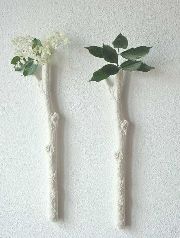 Split Branch Wall Mounted Bud Vase Created By Using A Mould Of Real Lovely