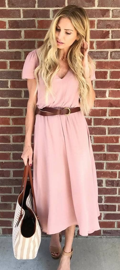 Romantic Spring Outfit Pink Midi Dress Bag Brown Belt Spring Outfits Casual Fashion Casual Dress Outfits