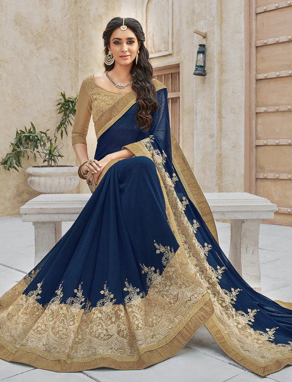 c1b2a5b000e7ad Strikingly beautiful Navy Blue and Gold Saree by in 2019 | Sarees ...