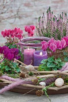 Aus Windlichtern kann man mit Blumen wahre Schmuckstücke machen. Zum Dekorieren haben wir hier Alpenveilchen gewählt, die farbige Akzente setzen. 💜💕 In unserem Artikel findest du weitere hübsche Deko-Ideen mit Alpenveilchen.  blumendeko  dekomitalpenveilchen  alpenveilchen  windlicht  dekorieren