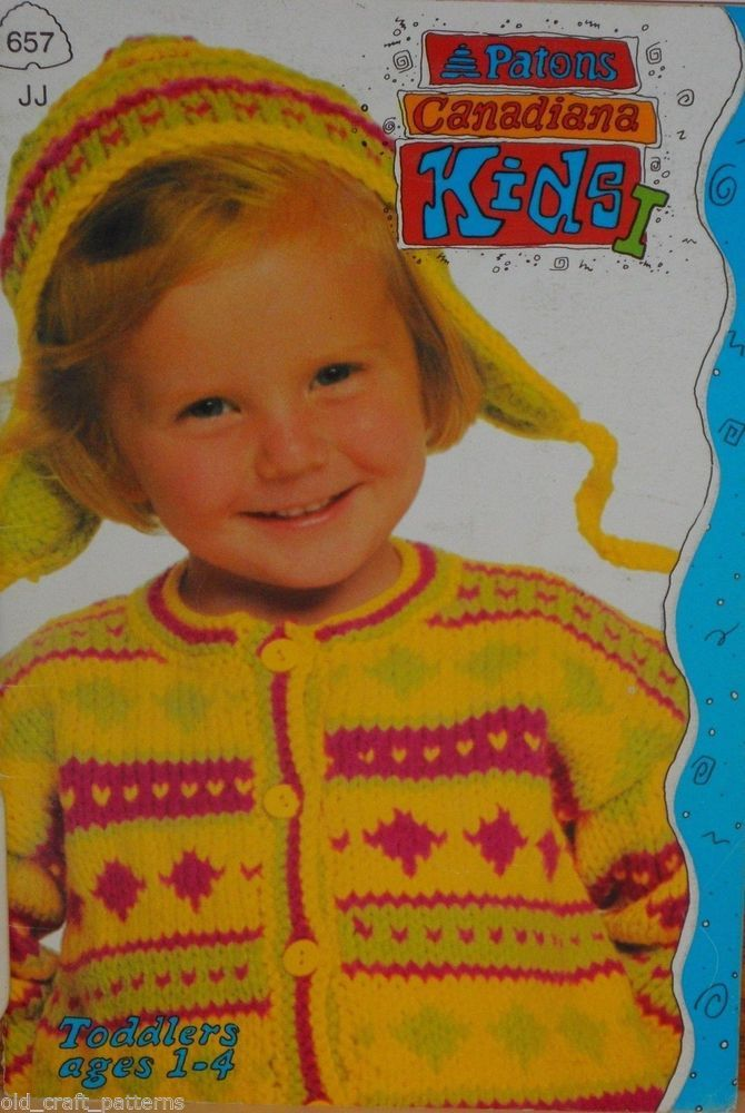 2d5450fcc Patons 657 Canadiana Kids Baby Toddlers Jumpsuit Hats Sweaters Knitting  Patterns