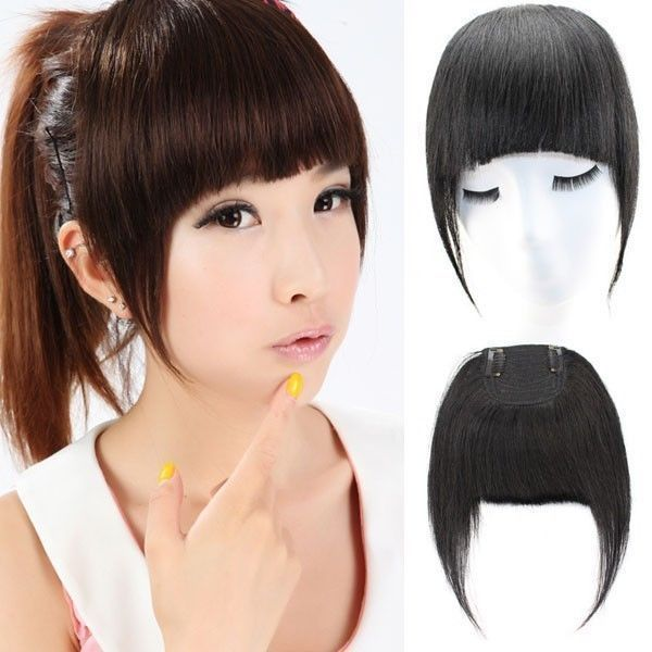 Long 2clips Fringes Virgin Clip In Real Human Hair Extensions Bangs