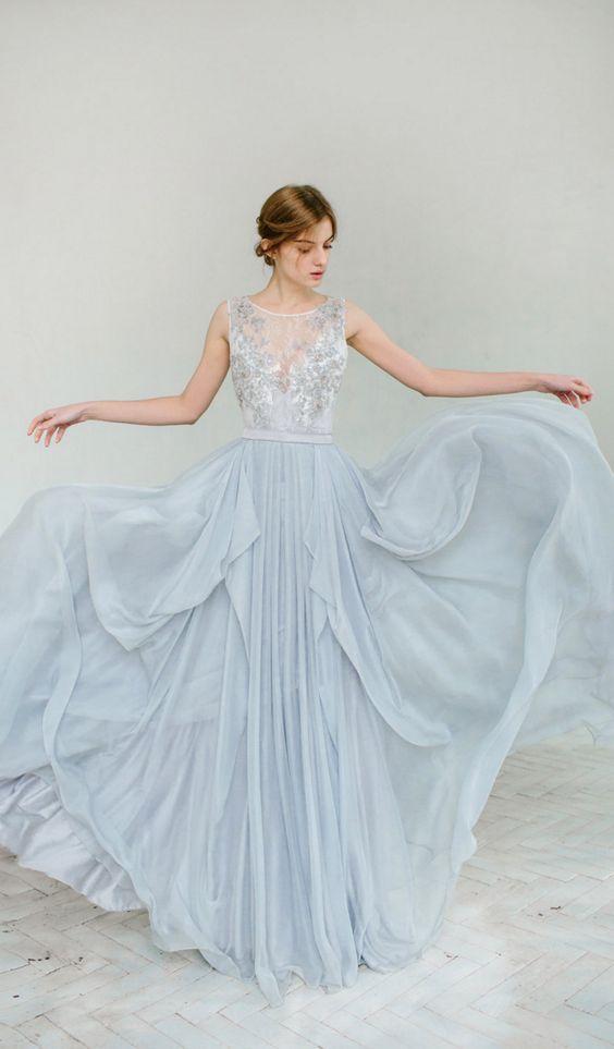 100 Adorable Blue Wedding Dresses Blue Wedding Gowns Grey Wedding Dress Silk Bridal Gown