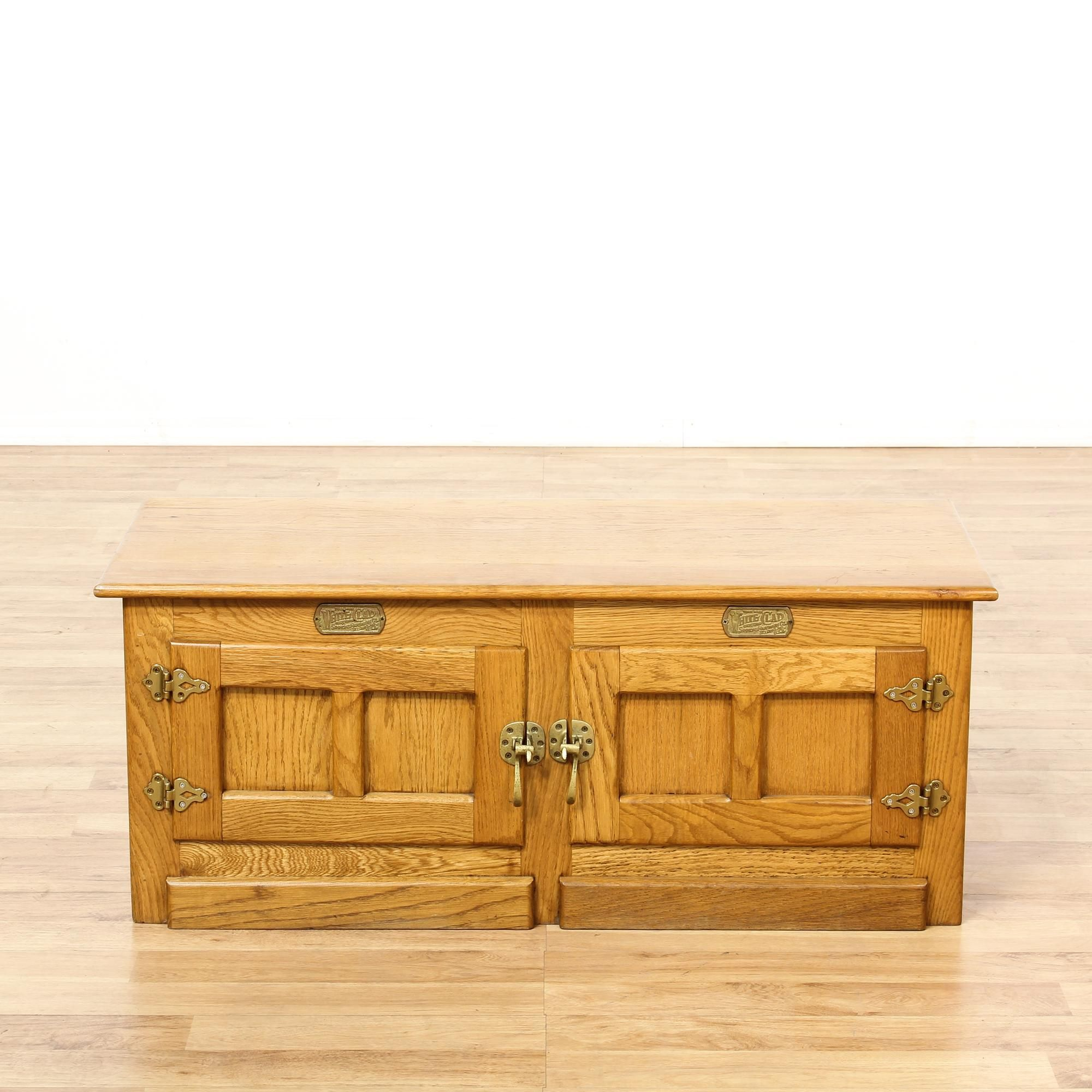 This White Clad Ice Box Cabinet Is Featured In A Solid Wood With A Glossy Light Oak Finish This Coffee Table Ben Vintage Furniture Vintage Storage Light Oak