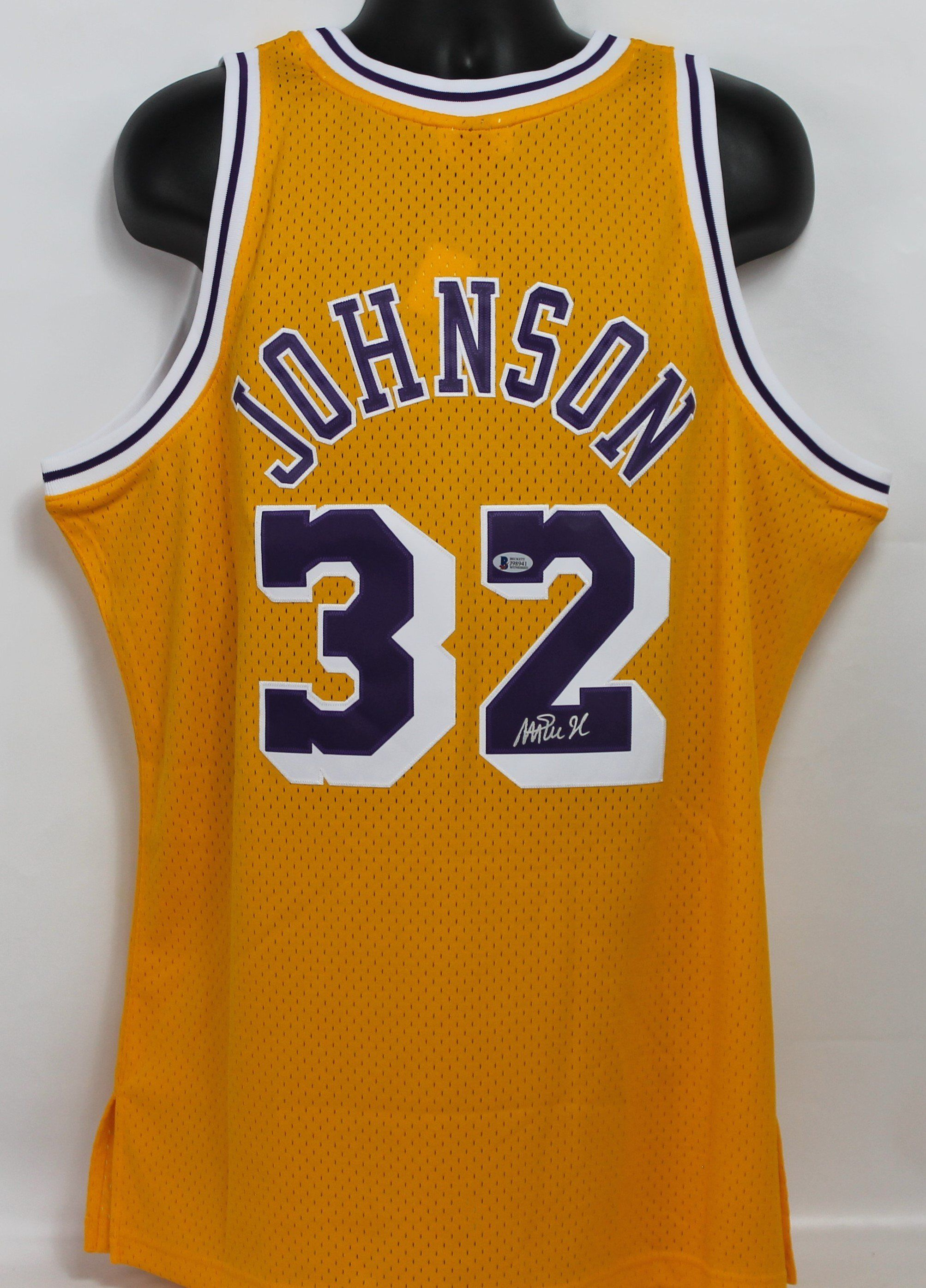 adc13c201a1 Magic Johnson Autographed Los Angeles Lakers Gold Mitchell & Ness ...