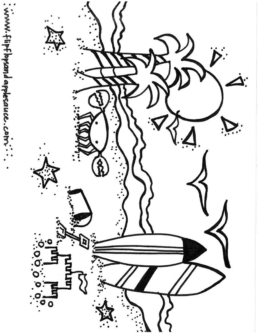 beach coloring page classroom ideas pinterest beach digi